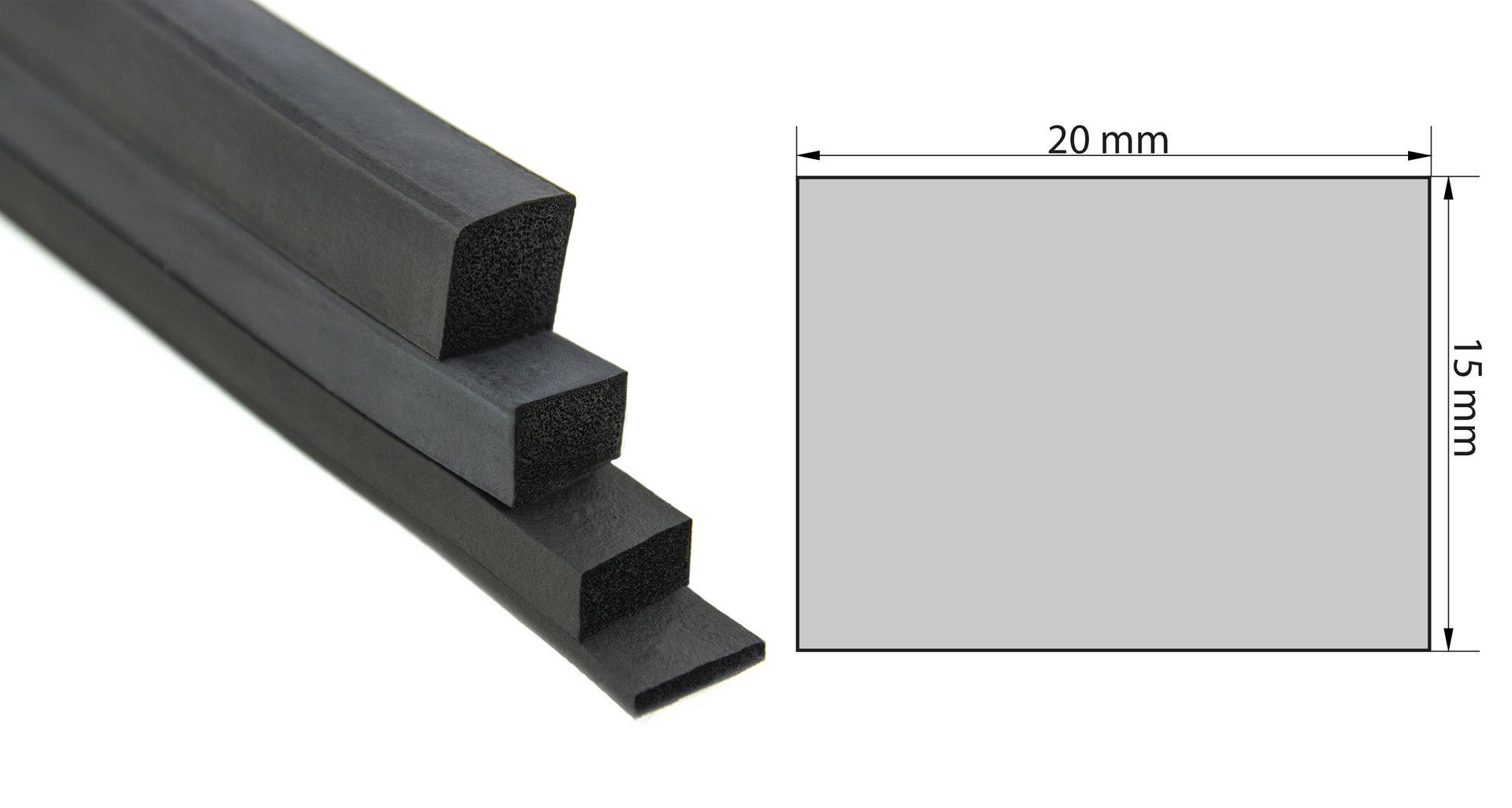 Rechteck Moosgummi Dichtung selbstklebend 3x20 mm 20 mtr. € 2,33// m